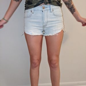 High waisted distressed American Eagle jean shorts
